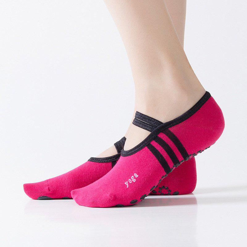 Women Breathable Pilates Yoga Non Slip Grip Cotton Ballet Dance Sport Massage Ankle Socks - RED