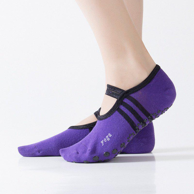 Women Breathable Pilates Yoga Non Slip Grip Cotton Ballet Dance Sport Massage Ankle Socks - DARK PURPLE