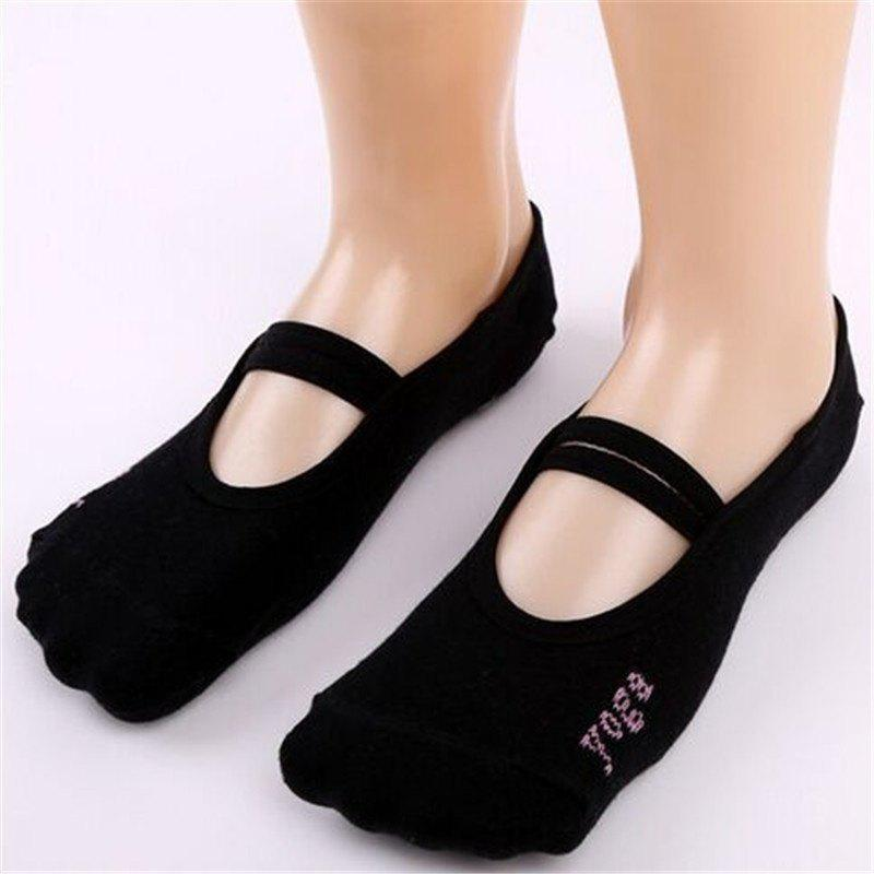 Women Breathable Pilates Yoga Non Slip Grip Cotton Ballet Dance Sport Massage Ankle Socks - BLACK