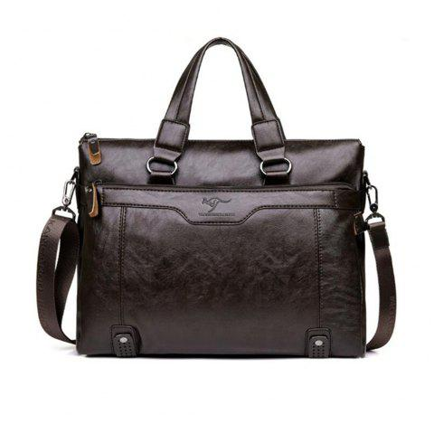 Business Men Porte-documents PU en cuir pour ordinateur portable Casual Man épaule Sacs - Brun