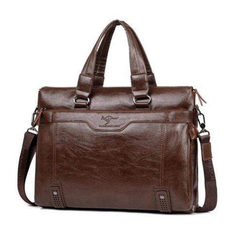 Business Men Briefcase Bag PU Leather Laptop Casual Man Shoulder Bags - KHAKI