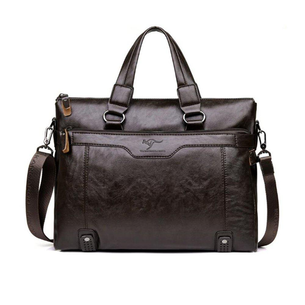 Business Men Briefcase Bag PU Leather Laptop Casual Man Shoulder Bags - BROWN