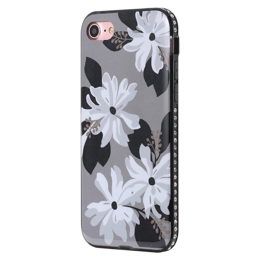 Étui pour iPhone 7/8 Diamond Daisy Pattern Cellphone Shell de protection - Blanc Gris