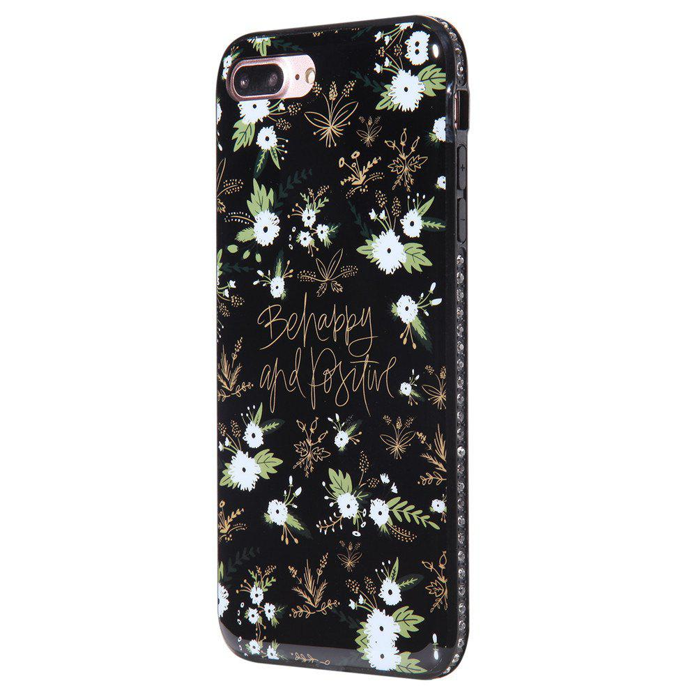Cas pour iPhone 8 Plus Diamond White Flowers Motif Téléphone portable Shell de protection - Blanc Noir