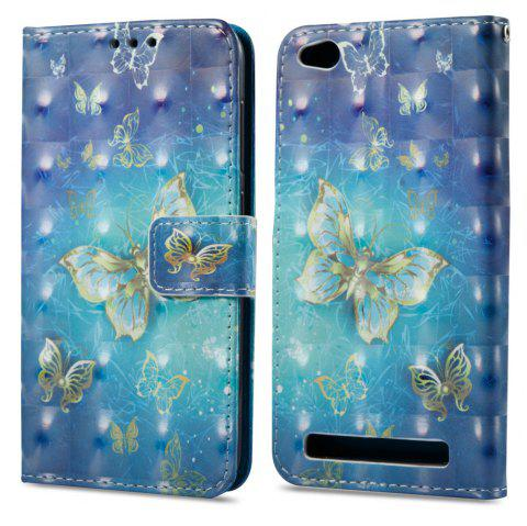 3D Painting Filp Case for Xiaomi Redmi 5A Golden Butterfly Pattern PU Leather Wallet Stand Cover - GOLDEN