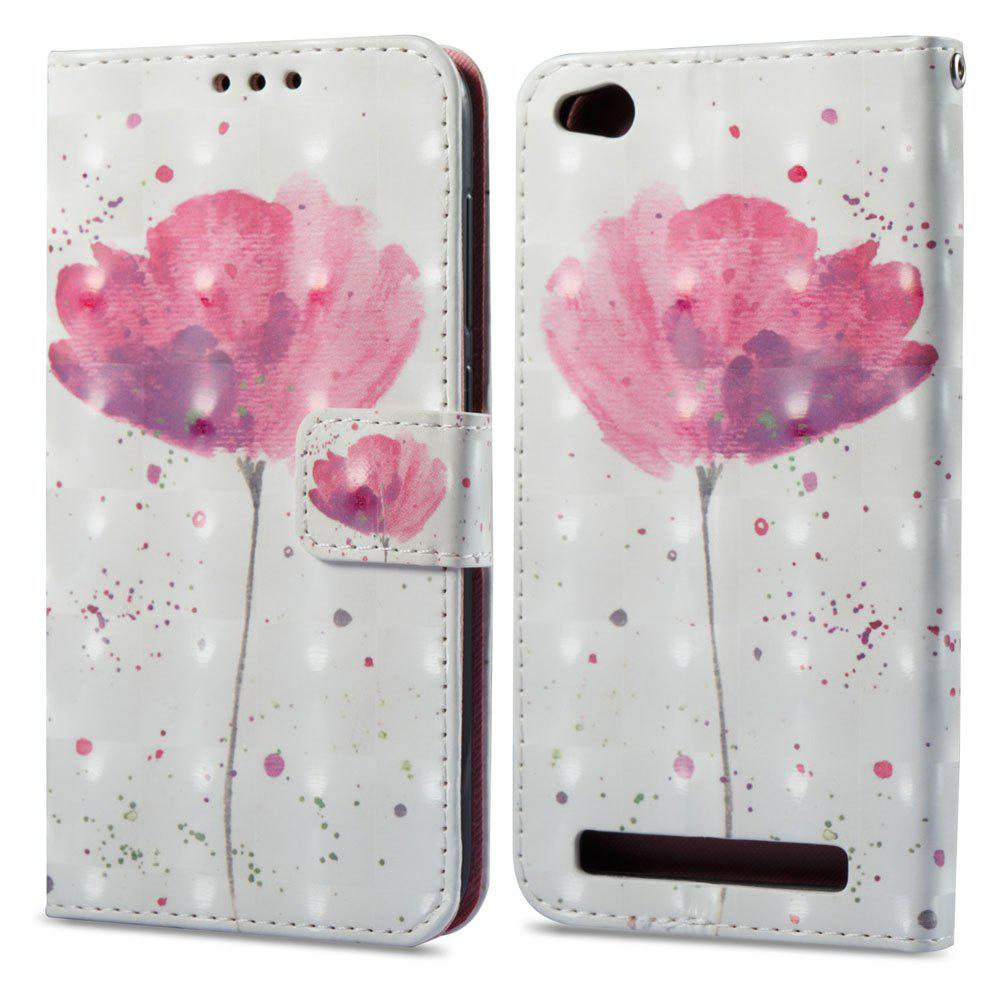 3D Painting Filp Case for Xiaomi Redmi 5A Lotus Pattern PU Leather Wallet Stand Cover - PINK