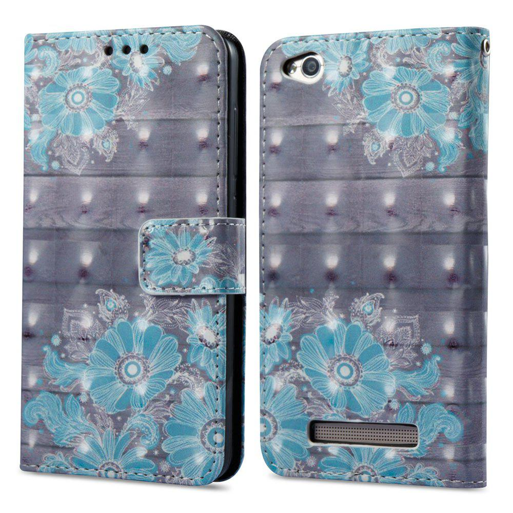 3D Painting Filp Case for Xiaomi Redmi 4A Blue Flower Pattern PU Leather Wallet Stand Cover - BLUE