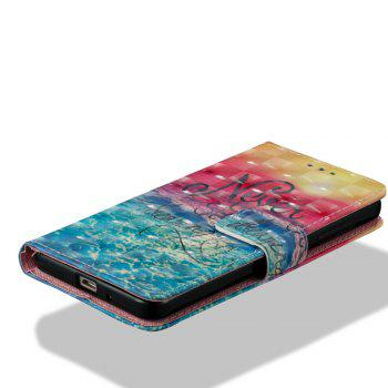 3D Painting Filp Case for Xiaomi Redmi 4A Ocean Pattern PU Leather Wallet Stand Cover - RED