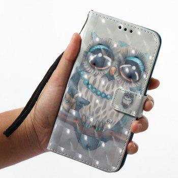 3D Painting Filp Case for Xiaomi Redmi 4A Gray Owl Pattern PU Leather Wallet Stand Cover - GRAY