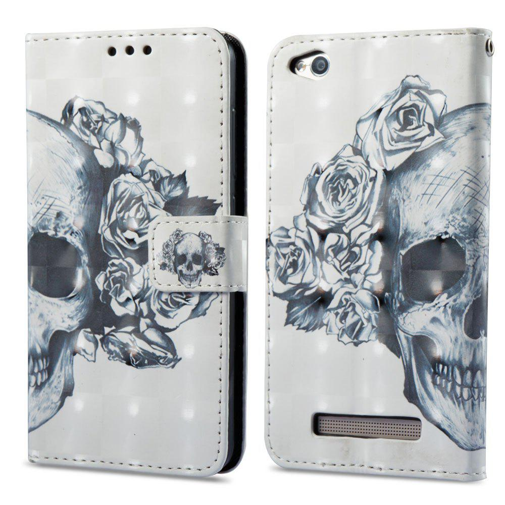 3D Painting Filp Case for Xiaomi Redmi 4A Skeleton Pattern PU Leather Wallet Stand Cover - WHITE