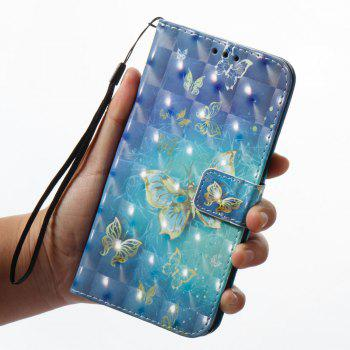 3D Painting Filp Case for Xiaomi Redmi 4A Golden Butterfly Pattern PU Leather Wallet Stand Cover - GOLDEN
