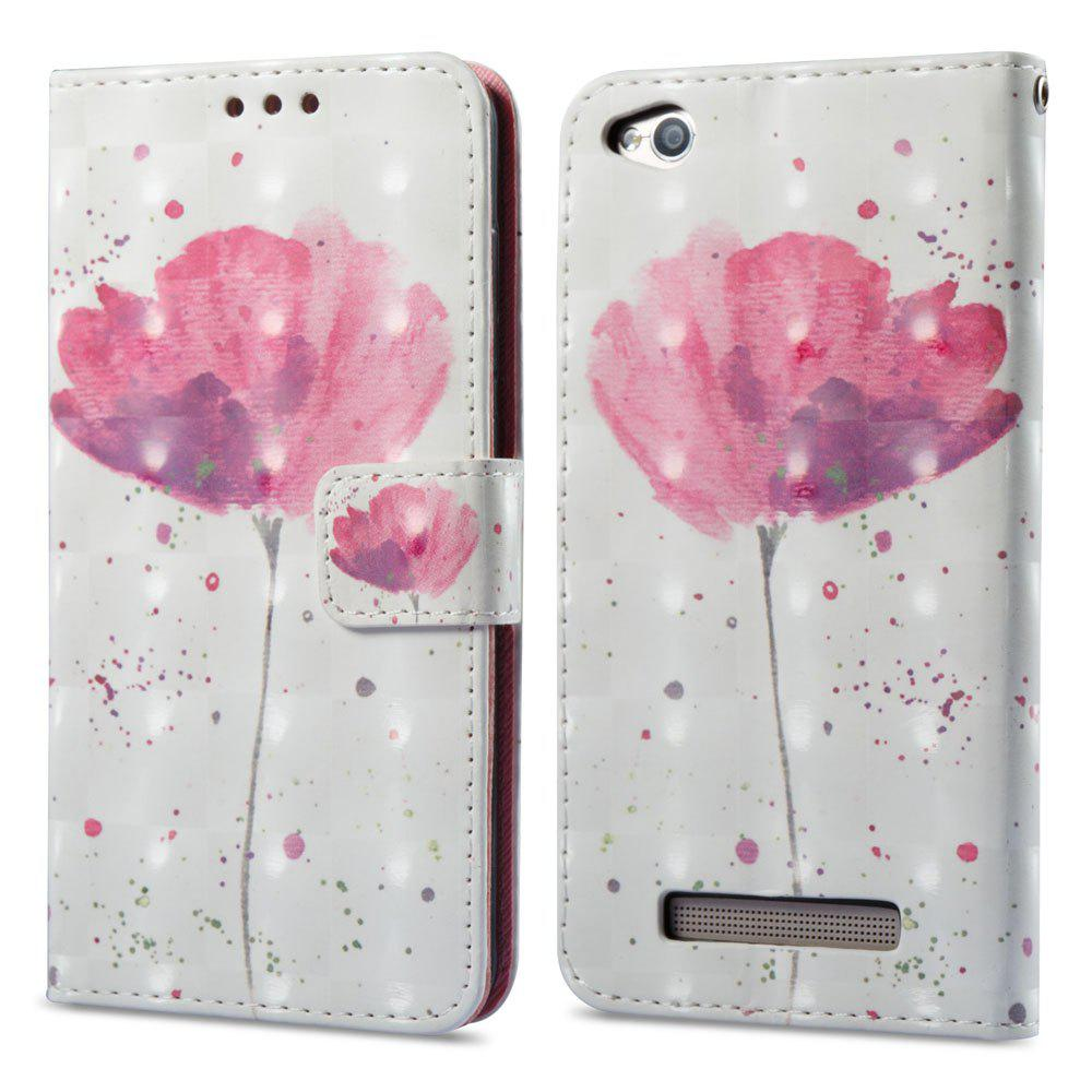 3D Painting Filp Case for Xiaomi Redmi 4A Lotus Pattern PU Leather Wallet Stand Cover - PINK