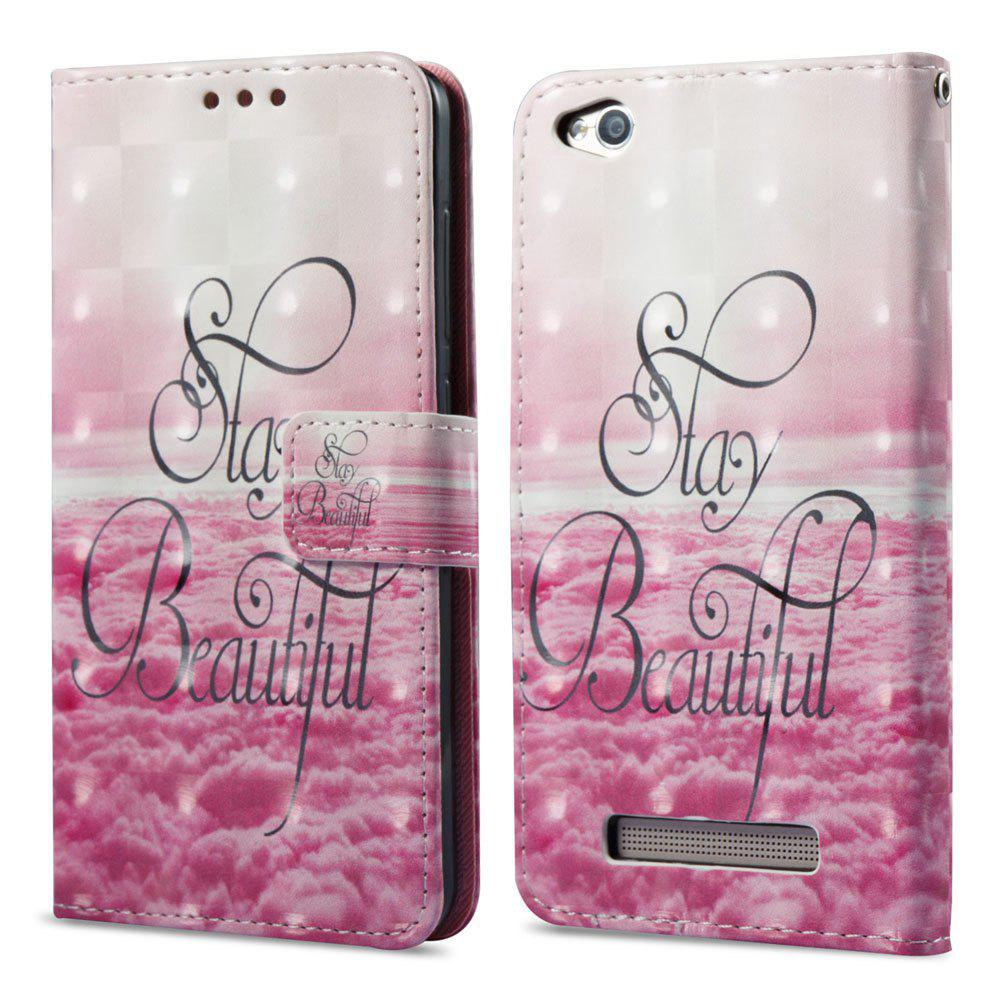 3D Painting Filp Case for Xiaomi Redmi 4A Pink Cloud Pattern PU Leather Wallet Stand Cover - PINK