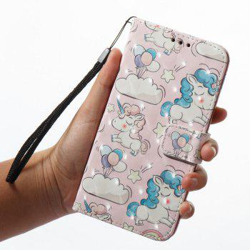 3D Painting Filp Case for Xiaomi Redmi 4A Pink Pony Pattern PU Leather Wallet Stand Cover - PINK