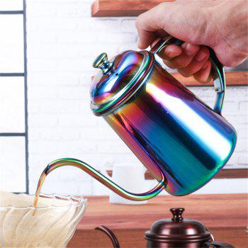650ML Colorful Stainless Steel Coffee Pot Long Mouth Coffee Pot Teapot Gooseneck Spout Kettle Drip Coffee Kettle - COLOR COLOR