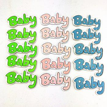 Color Glitter Baby Wood Stickers Birthday Party Decoration 30PCS - COLORFUL