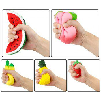 Slow Rising Jumbo Peach Banana Watermelon Pineapple Strawberry Fruit Squishies Party Supplies 5PCS - COLORMIX