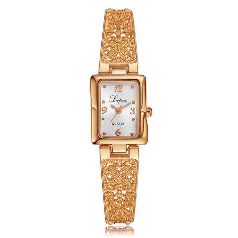 Lvpai P265 Women Rectangular Face Hollow Band Alloy Bracelet Watch - ROSE  GOLD BAND WHITE DIAL 8f75ee8a9