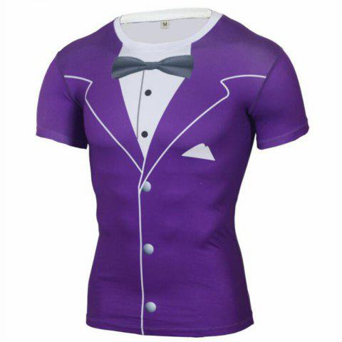 Men's Daily Sports Going Out Beach Holiday Casual Active Spring Summer Print Round Neck Short Sleeves Polyester T-shirt - PURPLE 3XL