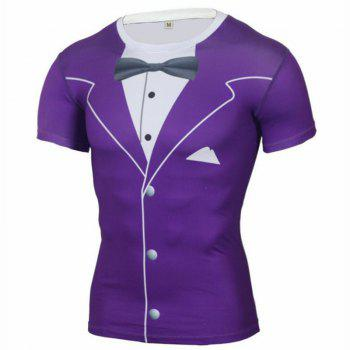 Men's Daily Sports Going Out Beach Holiday Casual Active Spring Summer Print Round Neck Short Sleeves Polyester T-shirt - PURPLE PURPLE