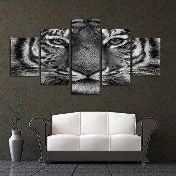 Black and White Tiger Face Sitting Room Adornment Picture Bedroom Painting Oil Painting - COLORFUL COLORFUL