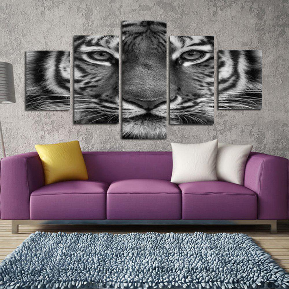 Black and White Tiger Face Sitting Room Adornment Picture Bedroom Painting Oil Painting - COLORFUL