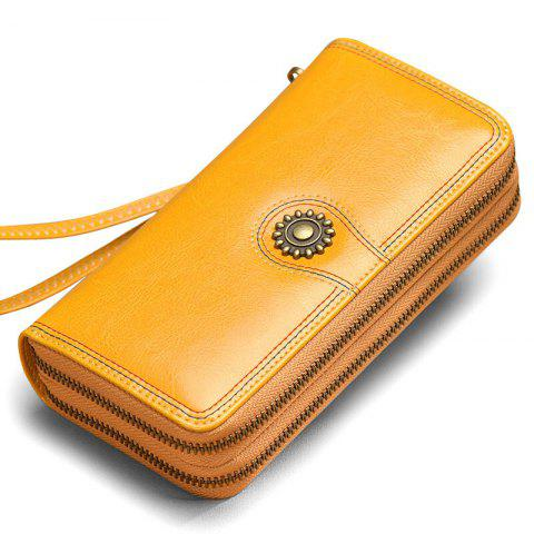 NaLandu Multi-purpose Generous Wax Leather Purse Organizer Double Zip Around Large Women Wallet with Wristlet - YELLOW