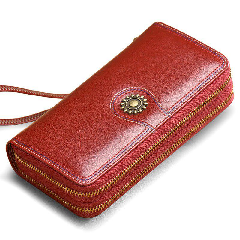 NaLandu Multi-purpose Generous Wax Leather Purse Organizer Double Zip Around Large Women Wallet with Wristlet - WINE RED