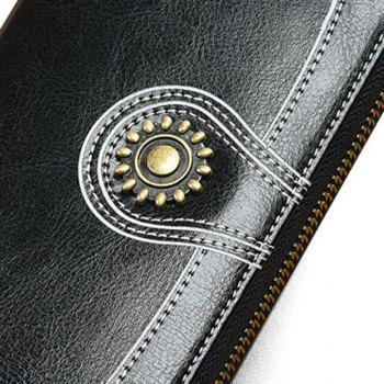 NaLandu Vintage Women Large Capacity Luxury Wax Leather Zippered Wallet Wristlet Handbag Clutch -  BLACK