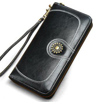 NaLandu Vintage Women Large Capacity Luxury Wax Leather Zippered Wallet Wristlet Handbag Clutch - BLACK BLACK