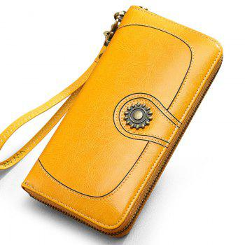 NaLandu Vintage Women Large Capacity Luxury Wax Leather Zippered Wallet Wristlet Handbag Clutch - YELLOW YELLOW