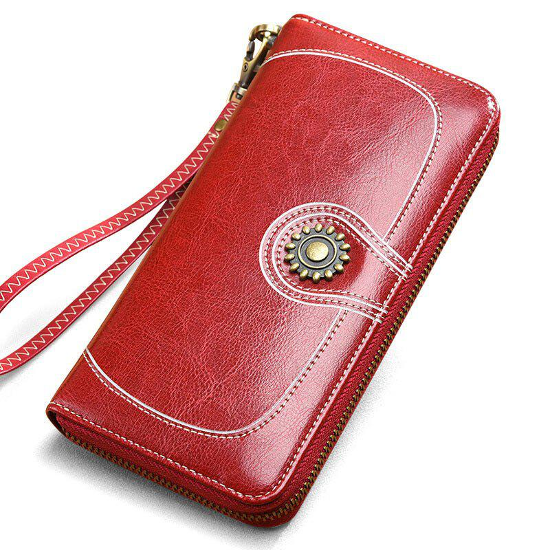 NaLandu Vintage Women Large Capacity Luxury Wax Leather Zippered Wallet Wristlet Handbag Clutch - WINE RED