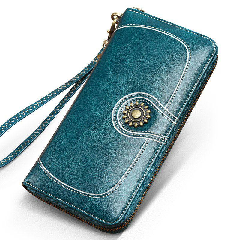 NaLandu Vintage Women Large Capacity Luxury Wax Leather Zippered Wallet Wristlet Handbag Clutch - BLUE