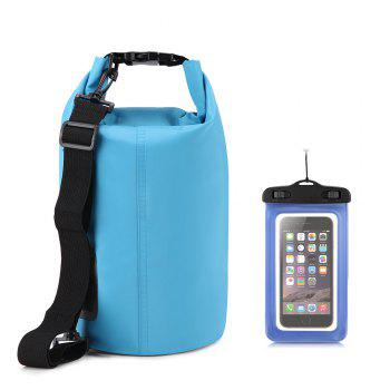 10L Waterproof Gear Storing Dry Bag and Floating Waterproof Phone Case for Swimming Kayaking Rafting Boating Camping - BLUE BLUE