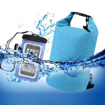 10L Waterproof Gear Storing Dry Bag and Floating Waterproof Phone Case for Swimming Kayaking Rafting Boating Camping - BLUE