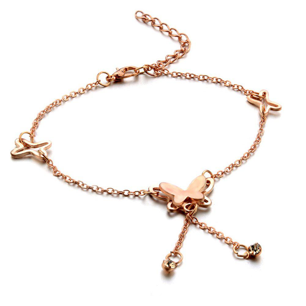 Rose Gold Butterfly Anklet - ROSE GOLD