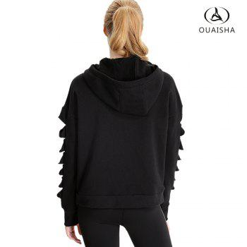 Essar Autumn and Winter New Woman Long Sleeved Warm and Comfortable Running Sportswear - BLACK S