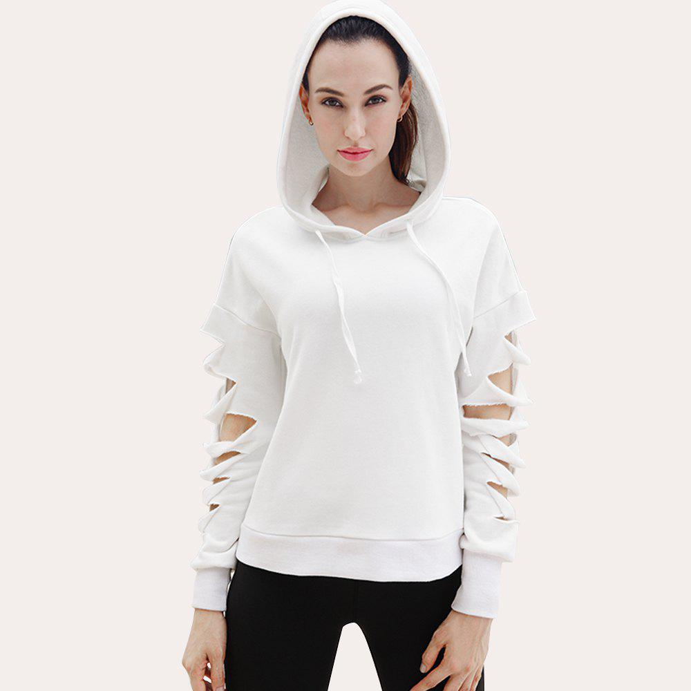 Essar Autumn and Winter New Woman Long Sleeved Warm and Comfortable Running Sportswear - WHITE L