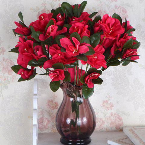 Artificial Silk Flowers Red Azalea Handmade Home Decor Simulation Flowers - RED 30CM X 10CM