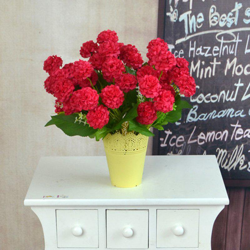 Artificial Silk Flowers Bright Color Chrysanthemum Home Decor Simulation Flowers - RED 35CM X 12CM