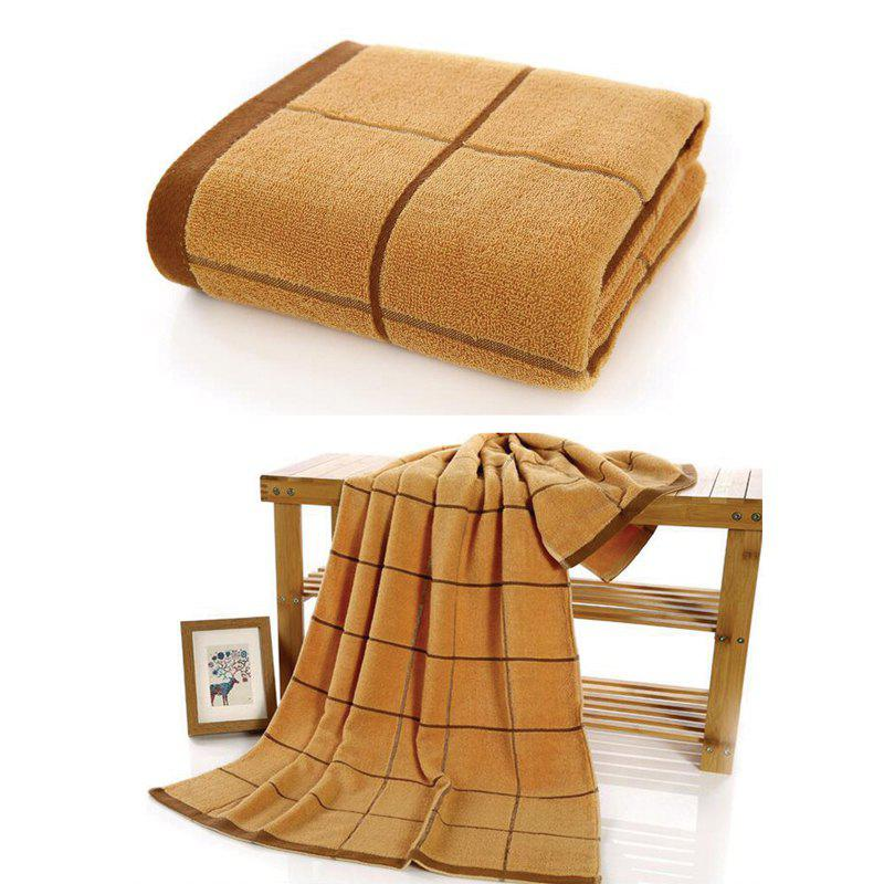 One Piece Bath Towel Classic Simple Plaids Pattern Thick Soft Cozy Shower Towel - BROWN 70CM X 140CM