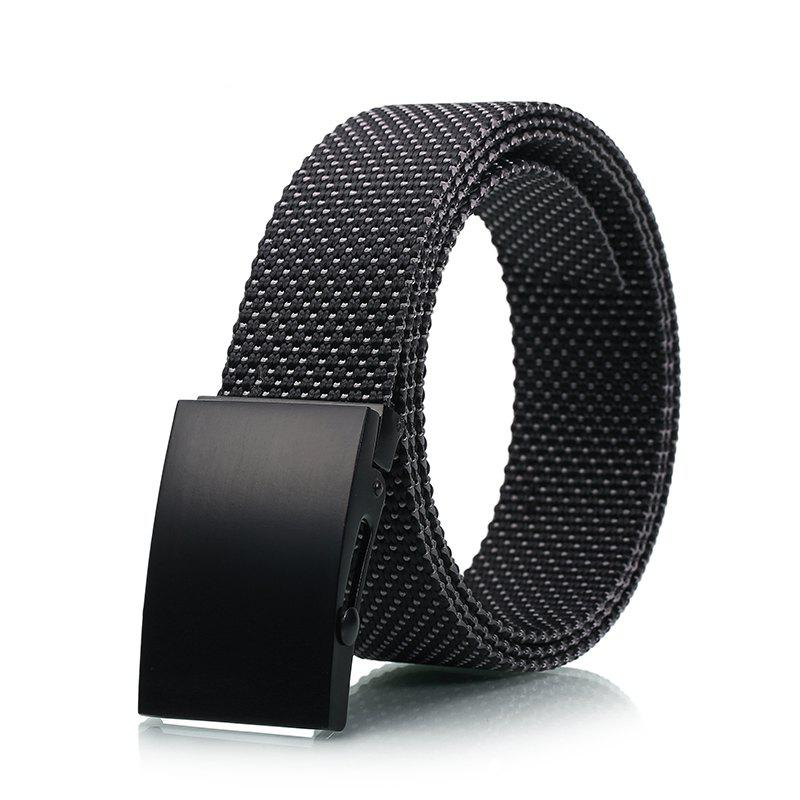 Fashion Adjustable Military Casual Nylon Spots Waist Belt with Metal Buckle Outdoor Sport - BLACK
