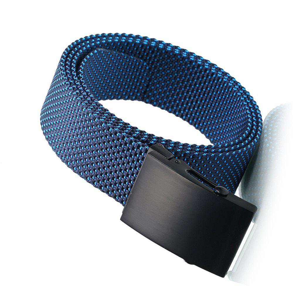 Fashion Adjustable Military Casual Nylon Spots Waist Belt with Metal Buckle Outdoor Sport - BLUE