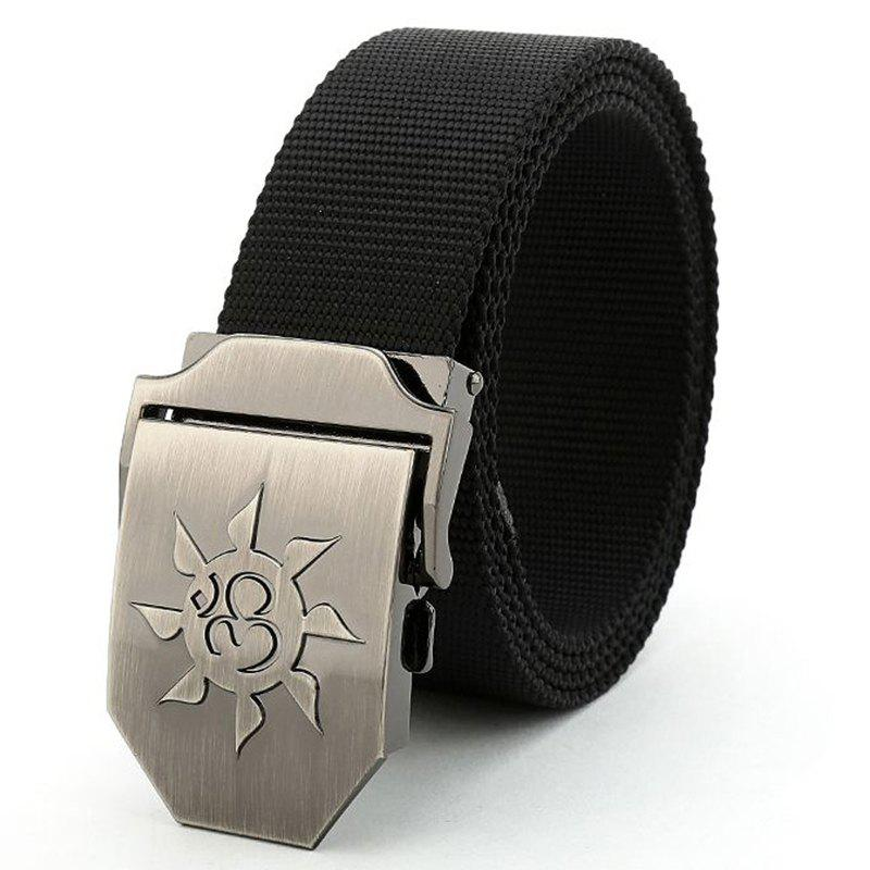 Fahsion Sun Shape Adjustable Multi-Function Tactical Military Nylon Waist Belt with Metal Buckle - BLACK