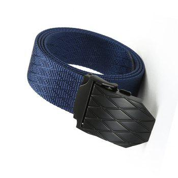 Quick Dry Adjustable Nylon Weaving Waist Belt Breathable with Metal Buckle Outdoor Sport - BLUE