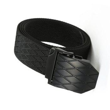 Quick Dry Adjustable Nylon Weaving Waist Belt Breathable with Metal Buckle Outdoor Sport - BLACK