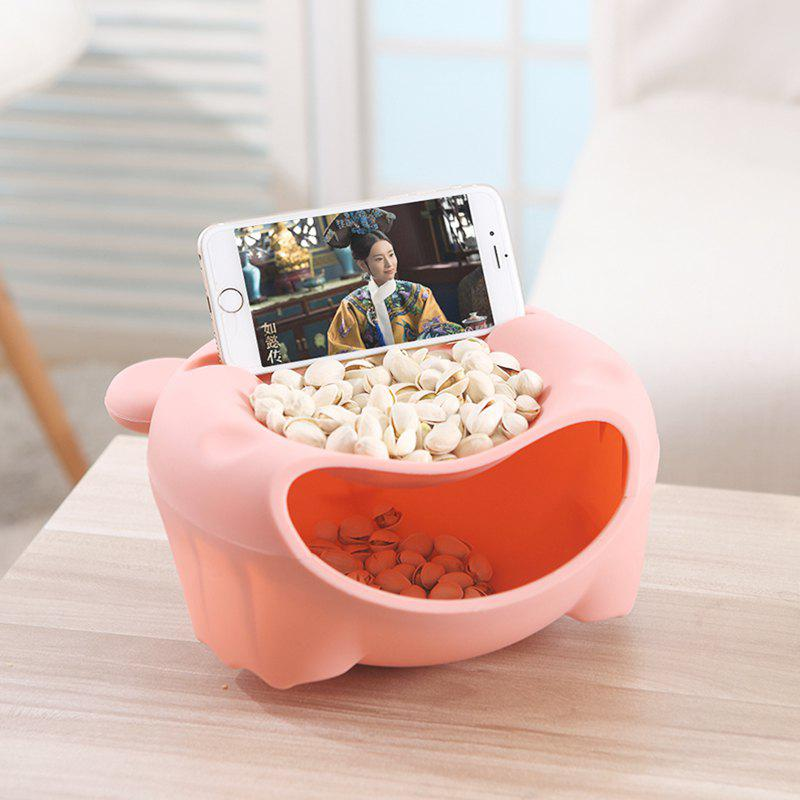 Big Lazy Bear Friut Box Snack Plate With Phone Bracket - PINK 21X21X11CM