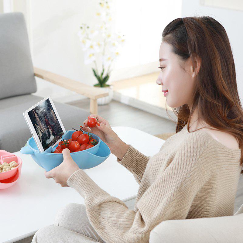 Creative Double-Layer Plastic Fruit Tray Household Dried Fruit Box Snack Bowl Lazy Melon Dish - BLUE 21.5 X 20 X 7CM