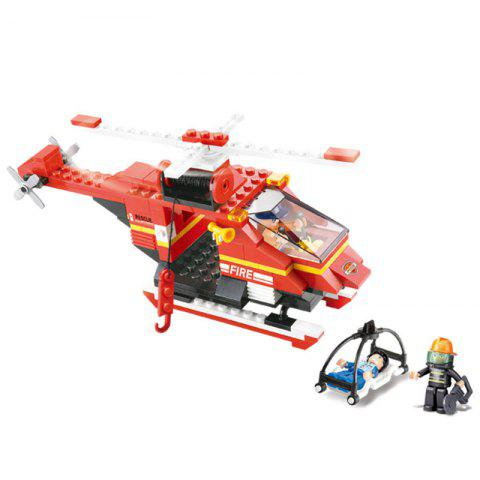 Sluban Building Blocks Educational Kids Toy Fire Helicopter 155 Pieces - RED