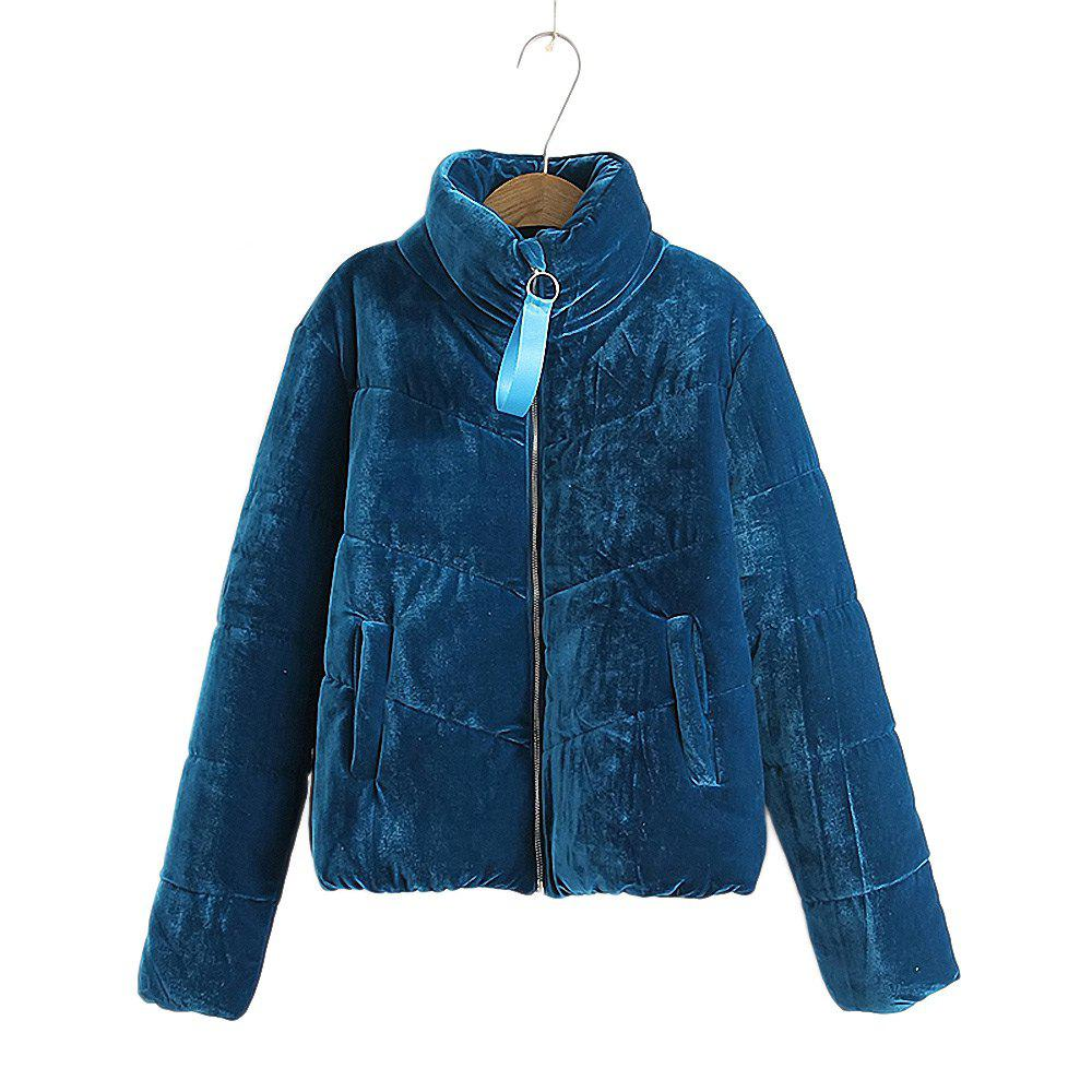 Women's Velvet Puffer Jacket - ROYAL L
